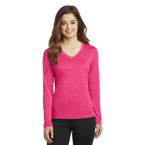 Sport-Tek® Long Sleeve Heather Contender V-Neck Tee - Ladies