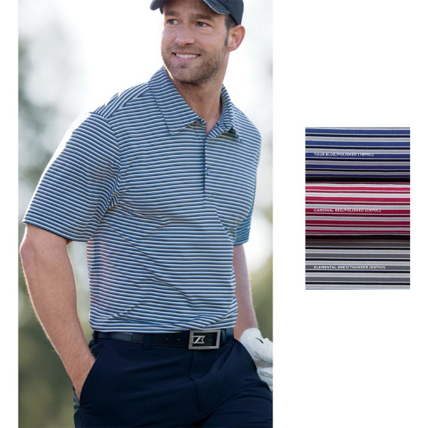 87828e2237a Cutter & Buck Men's Division Stripe Polo With CB DryTec 50+ UPF ...